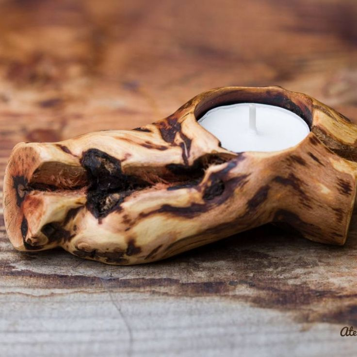 Suport lumânare din lemn viță de vie