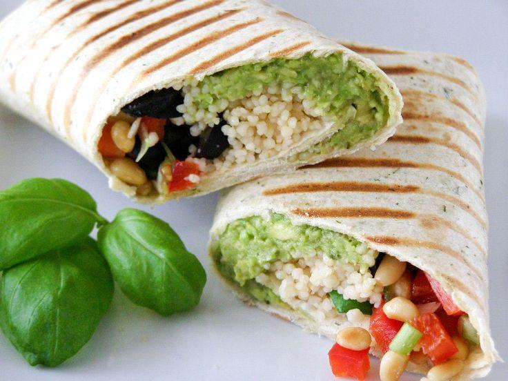 Mediterranean Couscous Wrap, with Couscous, Avocado, Black ...