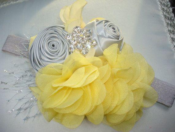 Baby Girl Rosette Flower Headband, Baby Headband, Children, Infant Headband, Headband, Photo Prop / Yellow Chiffon with Silver Gray Rosettes