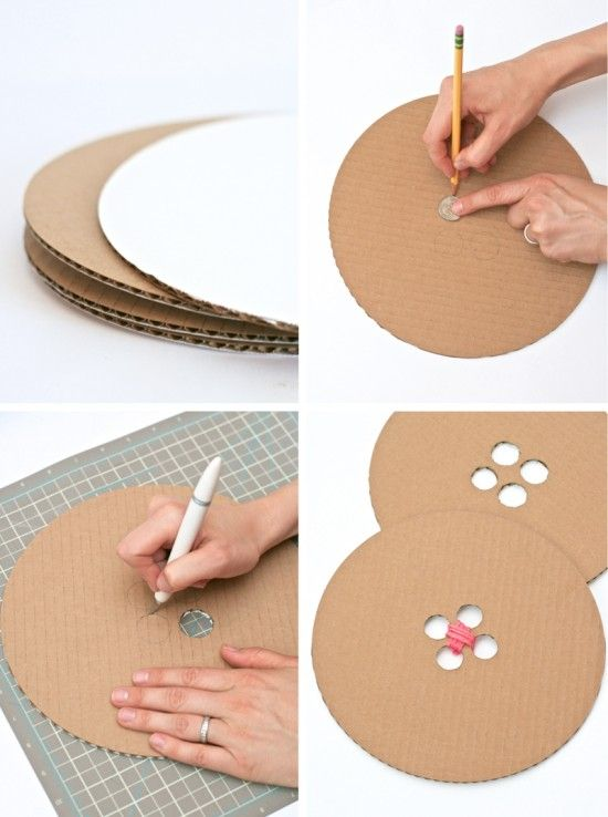 DIY Giant Buttons from Cardboard #sewingparty #tutorial #buttons