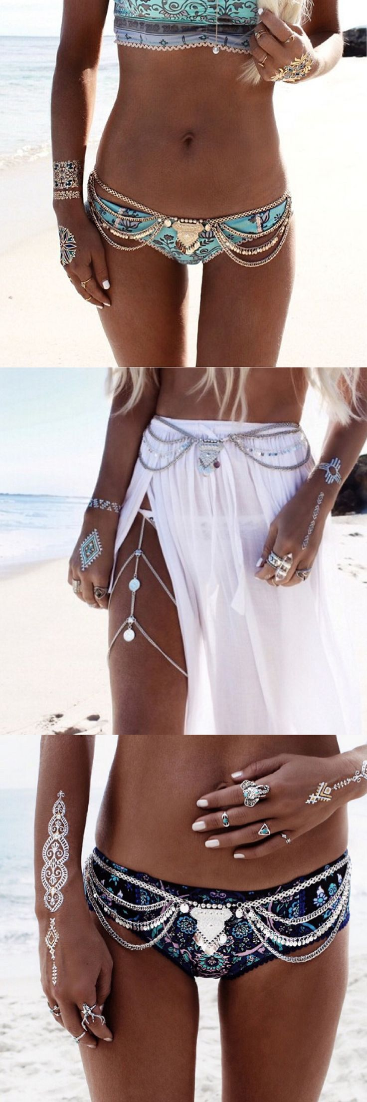 Boho Shimmy Belly Chains - perfect for vacation or music festivals!  Add an exotic charm to your ordinary outfit or swimsuit with our silver Boho Shimmy Belly Chains.  This adjustable belt can sit tight on your waist or hang low on your hips. Wear it with a bikini, a skirt or your favorite dress! It will move and sway with every movement so it's perfect for music festivals or any time you want to shimmy and accentuate your curves!