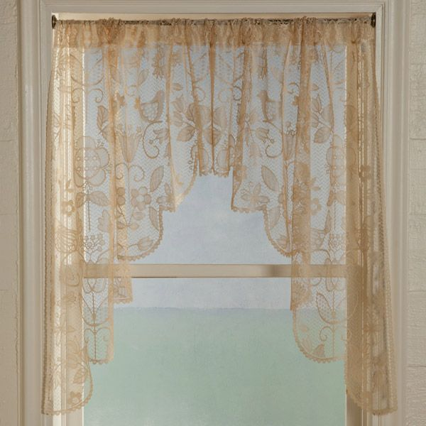 Long Swag Lace Curtains Rhapsody Lace Curtain Panel Tiers And Valance By Heritage Lace