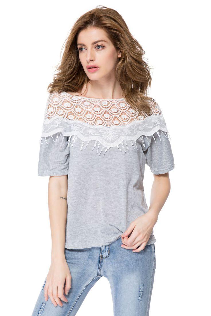 $5.41 Lace Cutout Shirt Women Handmade Crochet Cape Collar Batwing Sleeve T-Shirt