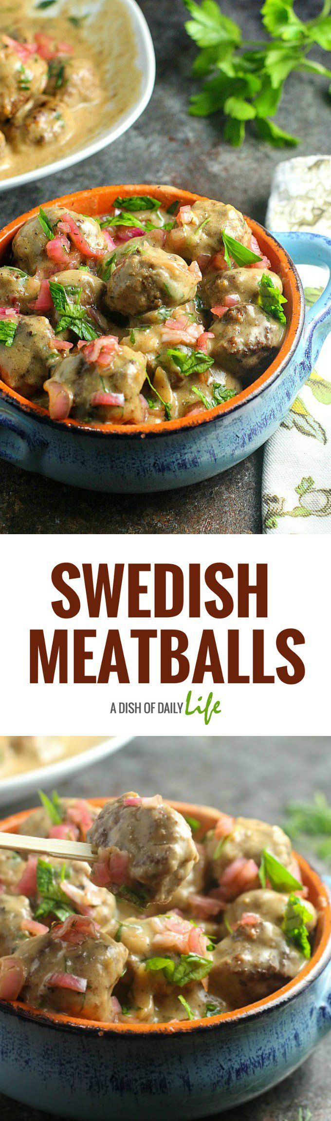 Swedish Meatballs, topped with pickled shallots, are the perfect starter to this elegant dinner party menu! #appetizer #meatballs #SwedishMeatballs
