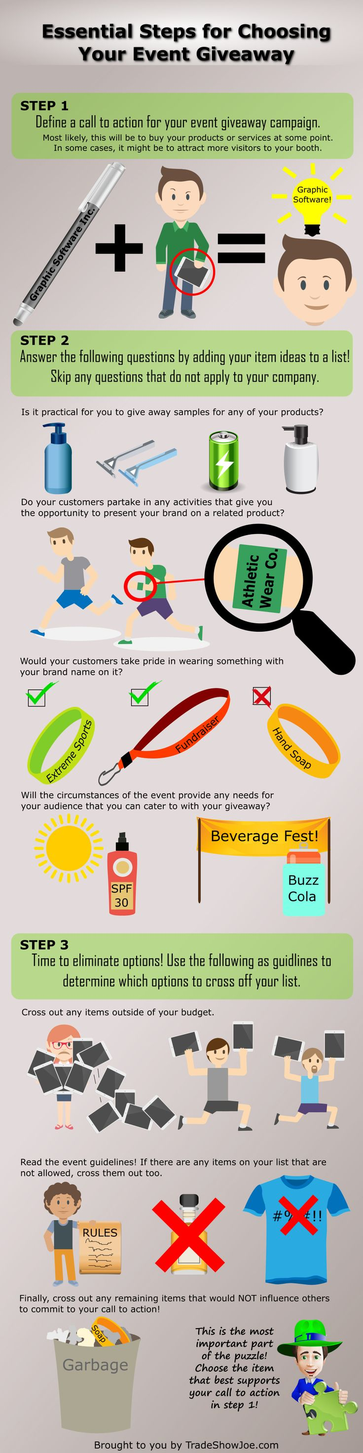 Smart questions to ask before you purchase your next giveaway! ~ Trade Show Giveaways #nfographic by TradeShowJoe.com