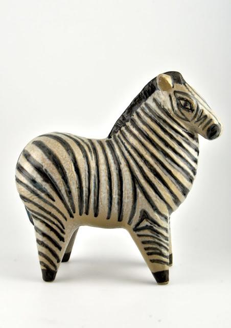 Zebra: ceramic animal figurines by Swedish artist Lisa Larson