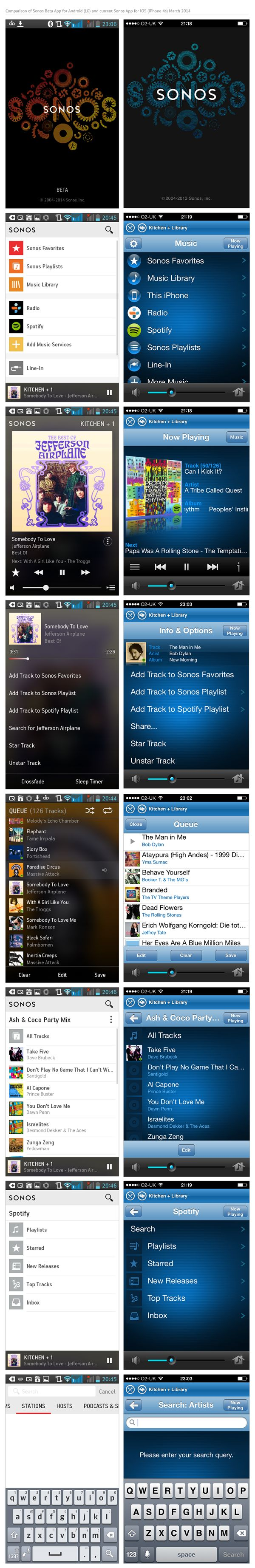 Comparison of Sonos Beta App for Android (LG) and current Sonos App for IOS (iPhone 4s) March 2014