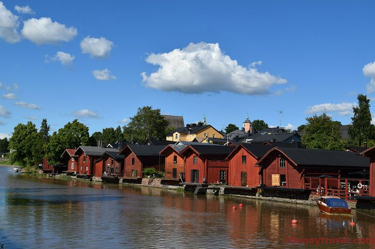 Porvoo Old Town is famous about its colourful wooden houses by Porvoo River.