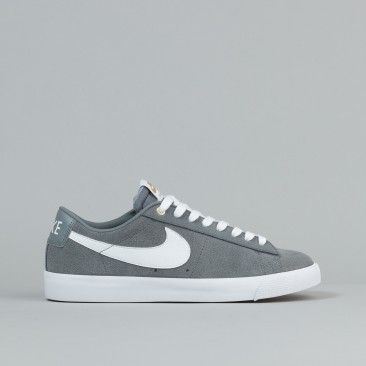 Nike SB Blazer Low GT Shoes - Cool Grey / White - Tide Pool Blue