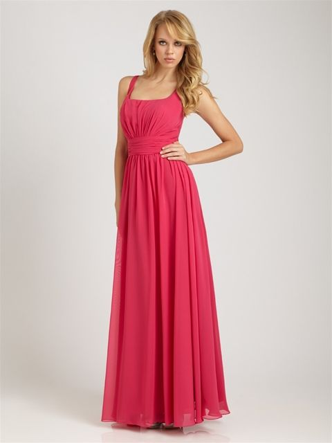 Allure - Style: 1257  A modern twist on a classic bridesmaid dress. The long chiffon dress features tank top straps, ruched waistline and flowy skirt.