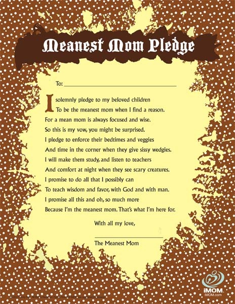 Take the Meanest Mom Pledge!