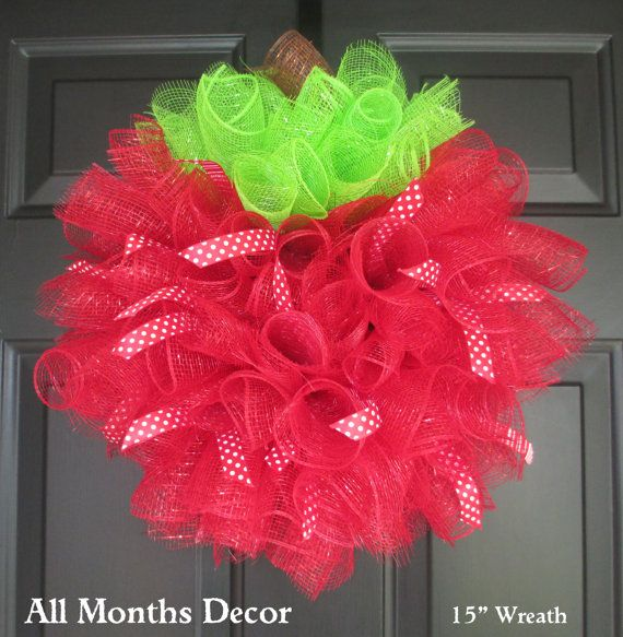 Red Apple Spiral Deco Mesh Wreath with Optional Polka/Striped Ribbons by All Months Decor Allmonthsdecor.com