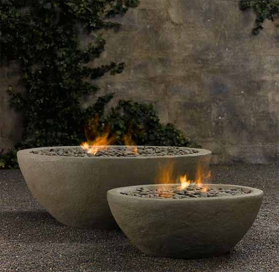 SMALL GARDEN FIRE PIT IDEAS | River Rock Fire Bowl from Restoration Hardware Outdoor Fire Pits Ideas