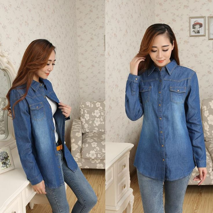 Women Cotton Double Pocket Long Sleeves Denim Casual Blouse Tops Korean Shirts #DL #ButtonDownShirt #Casual