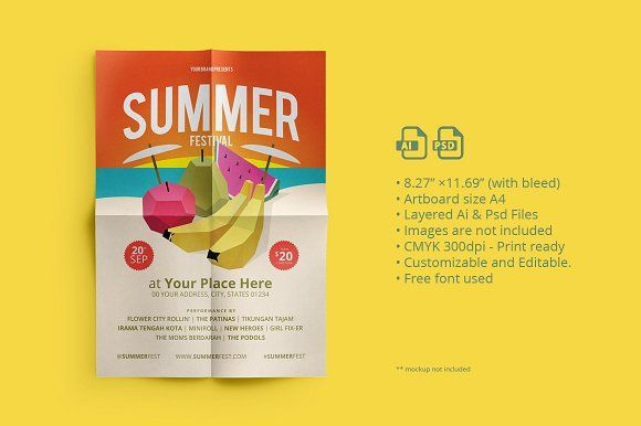 Summer Fest Flyer/ Poster 01 by ihsankl on @creativemarket