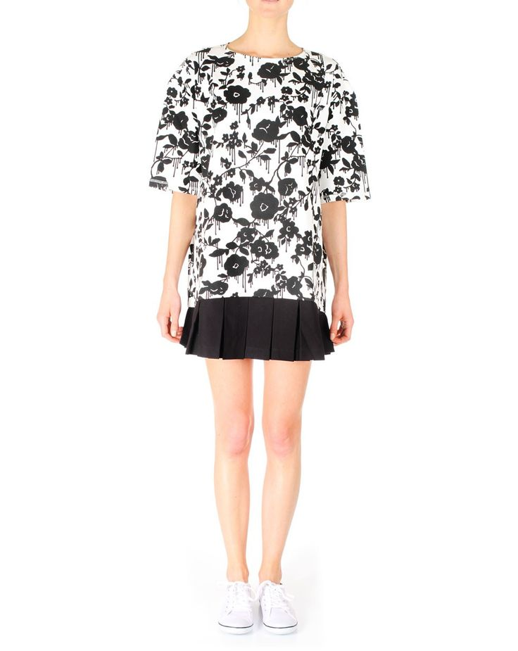 Hyper-Cool Sweater Dress with Stretch Twill Pleats by Karen Walker, black and white dress