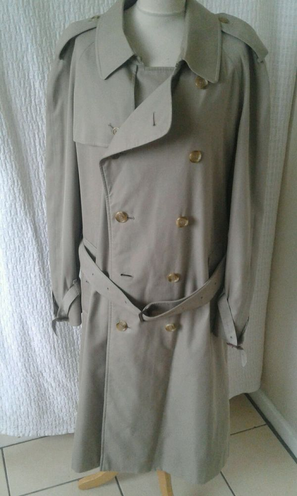 Mens Burberry beige trench coat mac size XL chest 48 #burberry #TrenchCoatsMacs