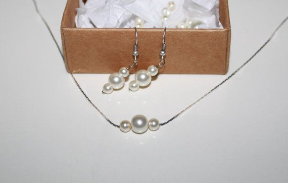 Ivory Pearl Earrings and Necklaces Set-Bridesmaid Jewelry GIft Set by JewelryPISCES