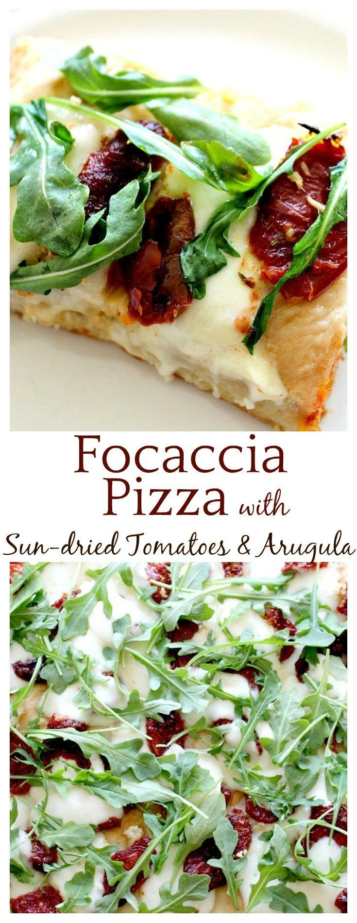 This focaccia pizza crust recipe is the perfect base for fresh mozzarella, sun-dried tomatoes, and arugula! Even the kids ate it and loved it!