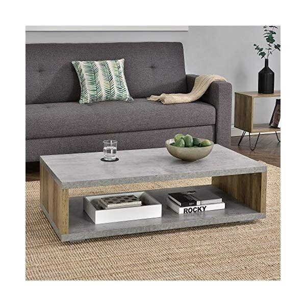 Tavolino da Salotto Moderno Effetto Legno Telaio in accaio en.casa 100 x 60 x 30cm
