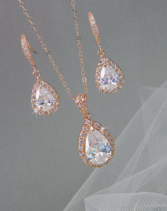 Rose Gold Bridal Set, Bridesmaids Jewelry Set, Crystal Pendant and Earrings, Wedding Jewellery, Ariel Rose Gold Bridal Jewelry SET $65.50 including shipping