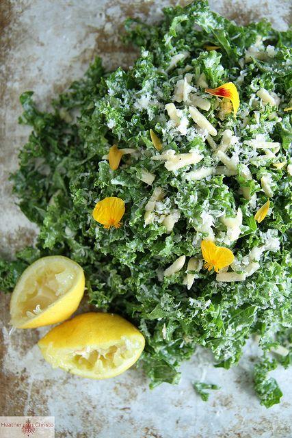 Kale Salad with Lemon, Almond and Pecorino by Heather Christo, via Flickr - 1 bunch curly kale, 1/2 c slivered almonds, 1 c finely shredded pecorino cheese...lemon vinaigrette - 4 tbsp lemon juice, 2 tbsp champagne vinegar, 4 tbsp olive oil, salt, & pepper