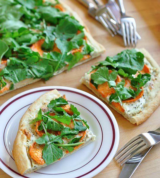 Sweet Potato, Ricotta & Arugula Flatbread #Recipe