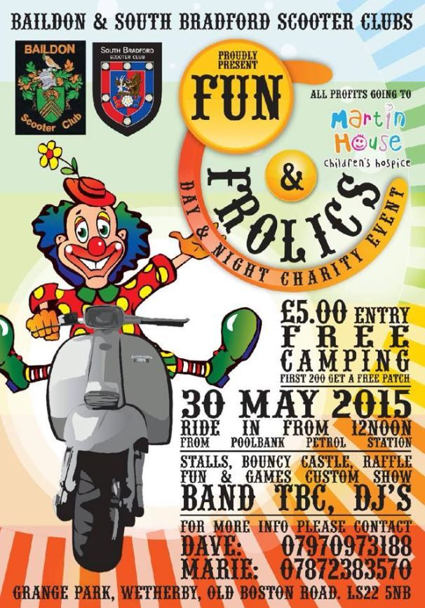 WETHERBY: Grange Park Wetherby and Baildon & South Bradford Scooter Clubs presents Fun & Frolics on Saturday 30th May