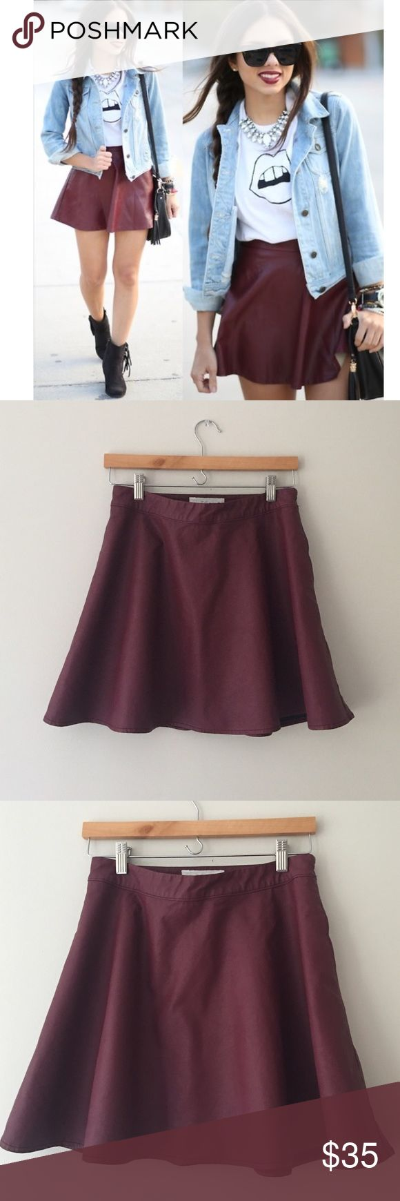 Abercrombie & Fitch Maroon Leather Skater Skirt Marion pleather skater skirt by Abercrombie & Fitch. Hidden side pockets. Side zip with hook and eye closure. Size Medium. Like New!! Abercrombie & Fitch Skirts Circle & Skater