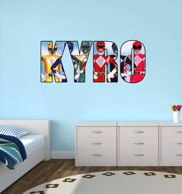 Personalised Name Original Power Rangers Wall Sticker Decal Part 40