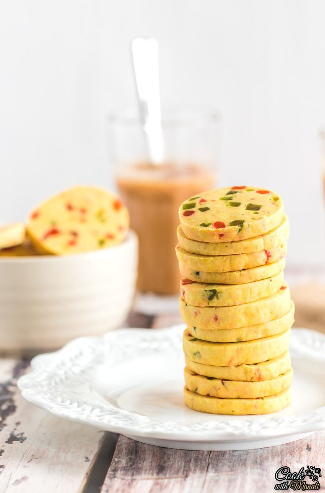 Eggless Fruit Cookies, also known as Karachi Biscuits are popular tea time cookies from India! #eggless #cookies Find the recipe on www.cookwithmanali.com