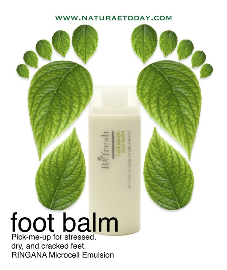 RINGANA Foot Balm provides special care to stressed, tired feet. The plant extracts that are included have an invigorating effect and impart a pleasant freshness. Rich oils such as tea tree oil, grape seed oil, and macadamia nut oil strengthen your skin's own protective layer while at the same time stimulating the fluid balance. The result: noticeably supple and smooth feet.  www.naturaetoday.com
