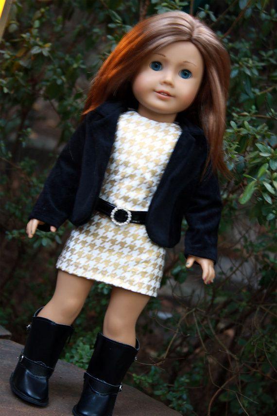 American Girl Doll Clothes Trendy Houndstooth Sheath by AvannaGirl
