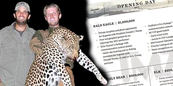 Trump Sons Auctioning Off $1 Million Hunting Trip to Celebrate Inauguration. The million dollars is only for killing a bald eagle with Eric. What fun taking down the symbol of our country with the very people taking down our country. Something to tell your enslaved grandchildren...