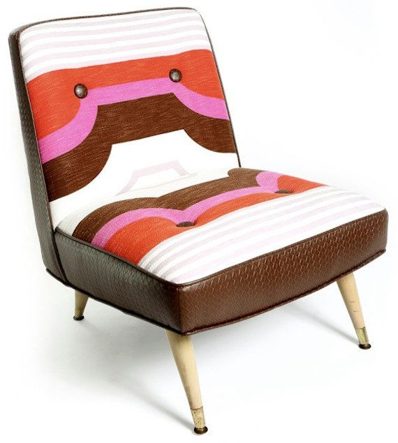 Mid Century Modern Upholstered Chair Pink by JessicaAllynDesigns, $710.00