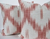 pillowPillows Covers, Ikat Pillows, Bricks Red, Covers Blue, Ikat Bricks, Families Room, Double Side, Covers Ikat, Kelly'S House