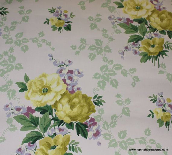 1940's Vintage Wallpaper Yellow Roses