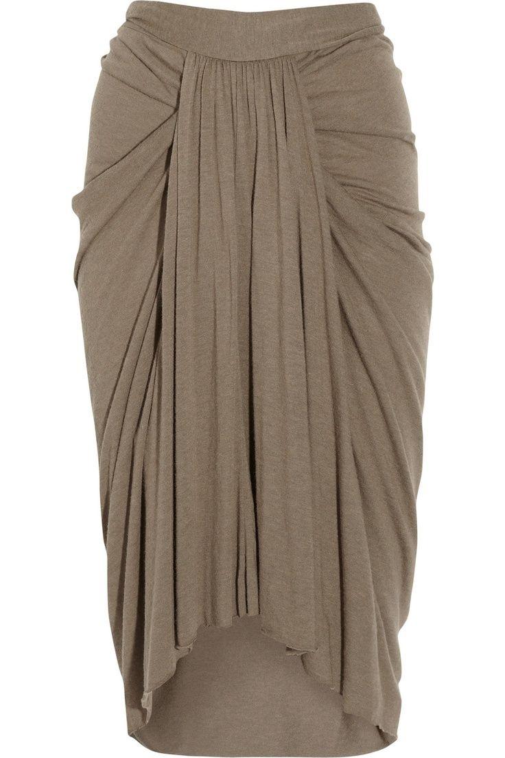 Jersey Skirt with elegant drape detail - sewing ideas; garment construction; draping fabric; fashion design; fabric manipulation