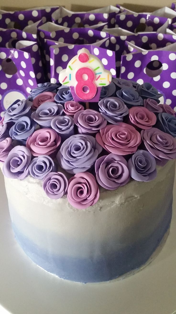 8th birthday Purple cake with roses