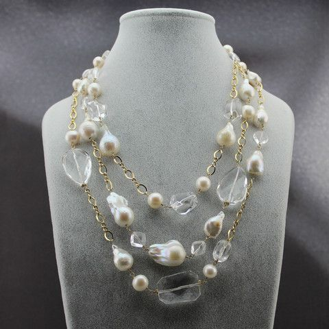 Triple Strand Baroque Pearl & Crystal Statement necklace - BourdagePearls and Gems