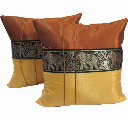 U201cBangkokMarketu201d 2 Pieces Thai Royal Elephant Thai Silk Pillow Case, For  Your Decoration Sofa, Bed Or In Your Car And Also Outdoor Furniture, Size