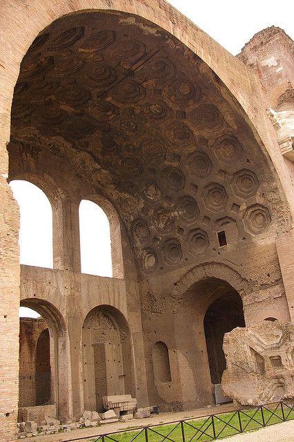 Roman Forum - Basilica di Massenzio/Maxentius. Work began 306-310. Completed under Constantine.