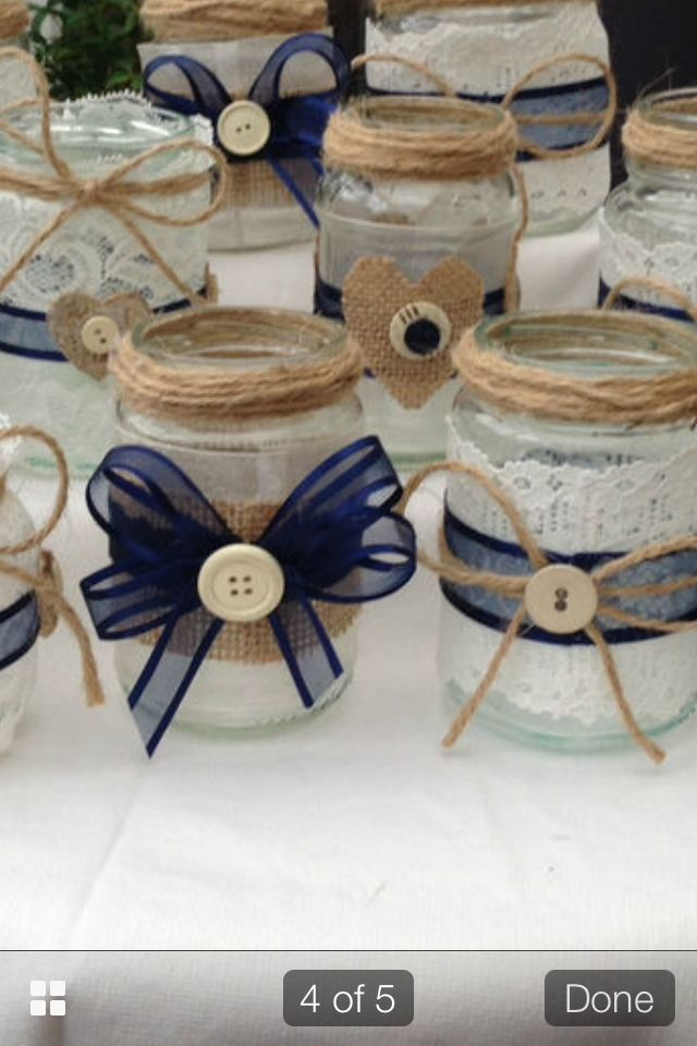 Close up of the jars, using hessian, jute, lace, ribbon & buttons. Oh & lots of glue!