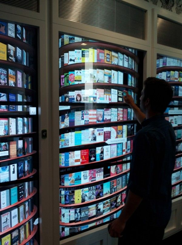 Another view of the touchscreen digital bookcase at Google's NYC office. #google