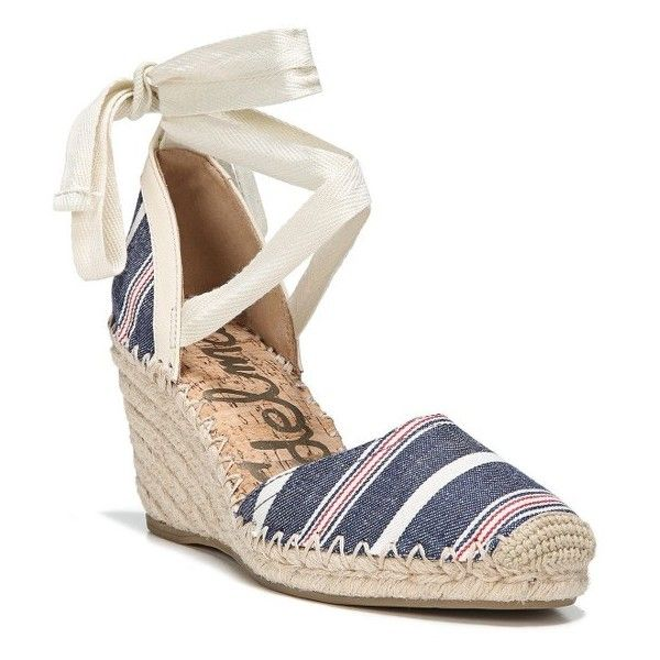 Women's Sam Edelman Patsy Wraparound Espadrille Wedge ($80) ❤ liked on Polyvore featuring shoes, sandals, ivory stripe, wedge sandals, woven wedge sandals, espadrille wedge sandals, braided sandals and wrap around sandals