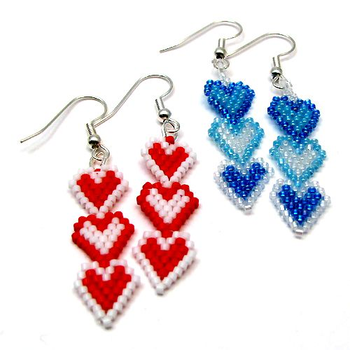 triple seed beaded heart earring tutorial - Google Search