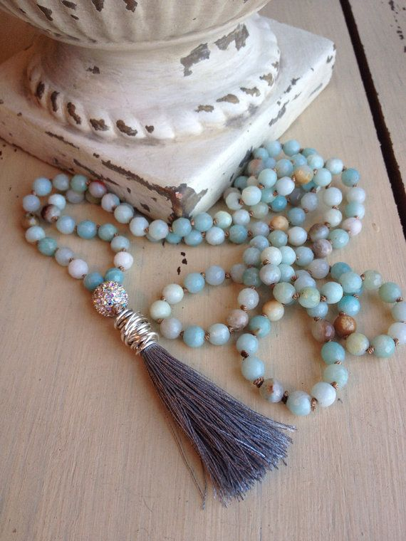 Bohemian glam long hand knotted gemstone tassel by MarleeLovesRoxy, $74.00
