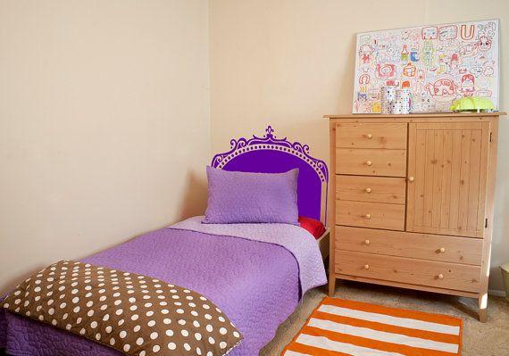 Decorative Twin Bed Headboard Decal by overlyattacheddecals, $39.99 Kids, Children