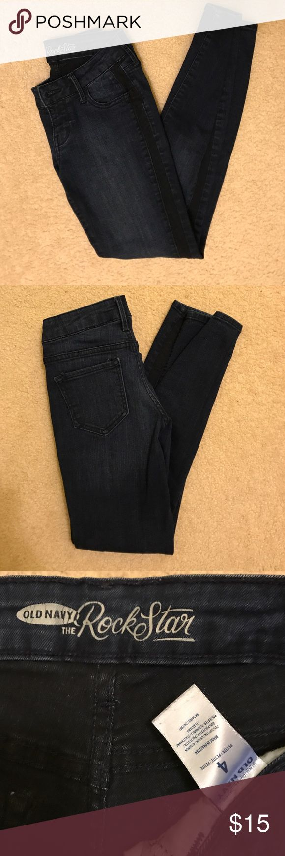 Old navy dark wash black stripe rockstar jeans This is a dark wash skinny rockstar Jean, it is a size 4, 73% cotton 26% polyester 1% spandex Old Navy Jeans Skinny