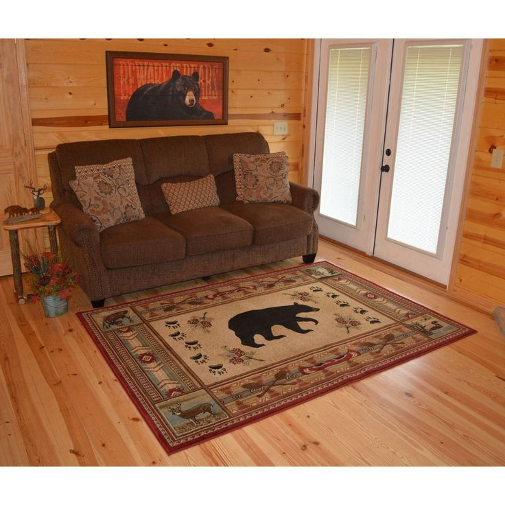 The Outdoorsmen Collection Rustic Lodge Red Bear Cabin Area Rug 5 3 X 7
